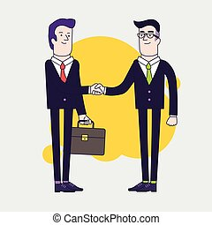 Businessmen shaking hands. Two businessmen have business agreement. Successful negotiation of business. Linear flat illustration.