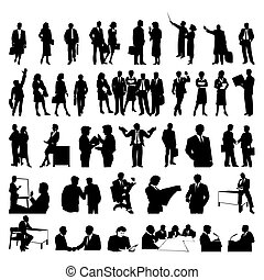 businessmen., silhouettes, vecteur, noir, illustration