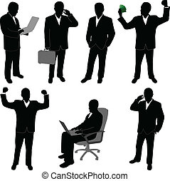 businessmen silhouettes- vector