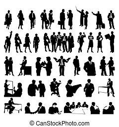 businessmen., silhuetas, vetorial, pretas, ilustração