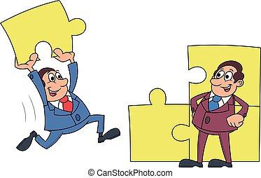 Businessmen solving puzzle 2