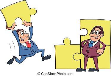 Businessmen solving puzzle