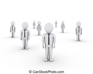 Businessmen standing in different places - 3d businessmen...