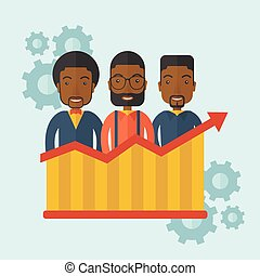 A happy Three african-american standing infront of growing graph with gears at their back. Successful business concept. A contemporary style with pastel palette soft blue tinted background. Vector flat design illustration. Square layout.