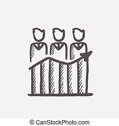 Businessmen standing on profit graph sketch icon