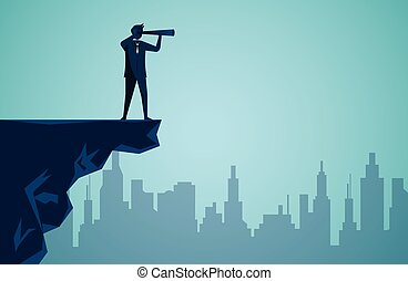 cartoon of man or businessman standing on the edge of