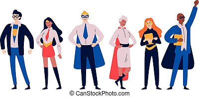 Businessmen superheroes. Entrepreneur, manager in a hero ...