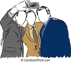 businessmen taking a selfie illustr