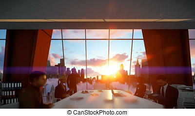 Businessmen team in conference room, rear view cityscape at sunset