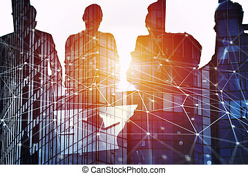 Businessmen that work together in office with network...