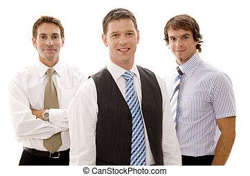 Three businessmen standing together