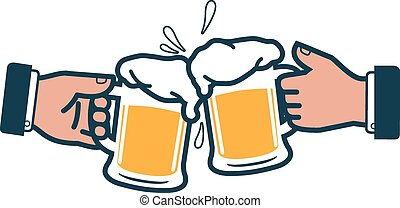 Businessmen toasting with beer - Vector iconic illustration...