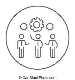 Businessmen under the gears line icon.