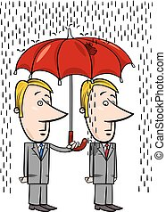 businessmen under umbrella cartoon