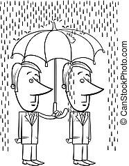 businessmen under umbrella