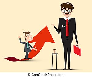 Businessmen Vector Characters Red with Arrow