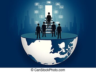 Businessmen walk up the stair to the door. step up the ladder to success goal in life and progress in the job. of the highest organization. business finance concept. icon. world vector illustration
