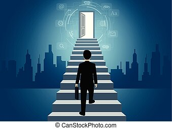 Businessmen walk up the stair to the door. step up the ladder to success goal in life and progress in the job. of the highest organization. business finance concept. icon. vector illustration
