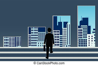 Businessmen walk up to the gap of bar graphs. go to The best choice success goal in life and progress. The back is the city. business finance concept. leadership. vector illustration