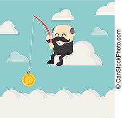 businessmen who are fishing for profit in the stock market.
