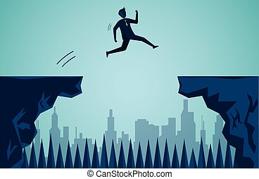 Businessmen who are jumping from cliff To the opposite cliff go to the business success goal To overcome obstacles for the ultimate target. startup. illustration cartoon vector