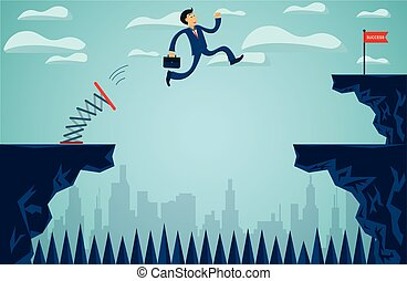 Businessmen who are jumping from springboard Across the cliff go to the business success goal to overcome obstacles for the ultimate target. startup. illustration cartoon vector