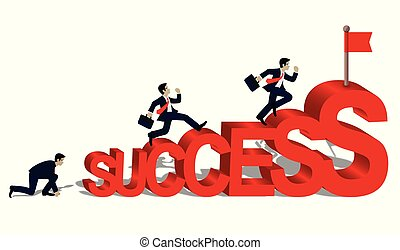 Businessmen who run to the finish line to success in business concept. and the progress is higher. Go to the destination Highest point and ultimate goal. Cartoon, vector illustration.