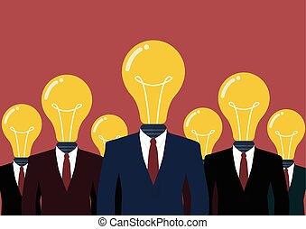 Businessmen with a light bulb head