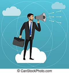businessmen with a megaphone