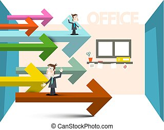 Businessmen with Arrows in Office Room. Vector Business Concept Illustration.