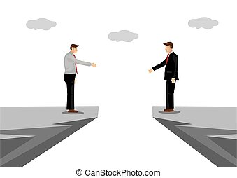 Businessmen with barriers trying to have a handshake. Concept of problems or challenges in corporate cooperation.