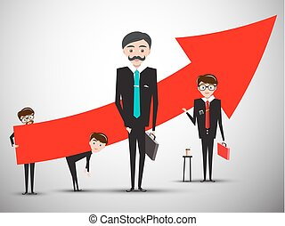 Businessmen with Big Red Arrow. Businessman Success Symbol. Vector. Creative Team.