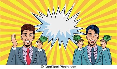 businessmen with bills dollars pop art animation ,4k video ...