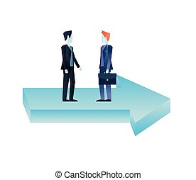 businessmen with briefcase on financial arrow