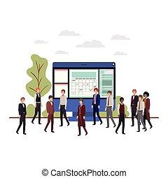 businessmen with computer desktop avatar character