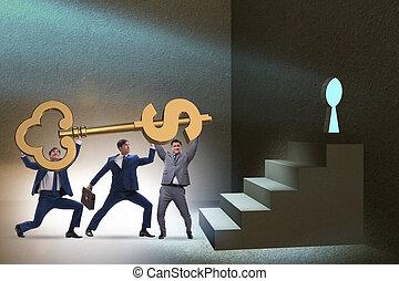 Businessmen with dollar key unlocking door