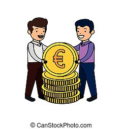 businessmen with euro coins