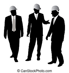 Three businessmen architects or engineers with a protective helmet are walking and talking about new project. Isolated white background. EPS file available.