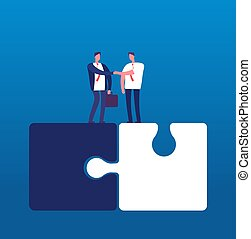 Businessmen with puzzle. Man handshaking on huge puzzles. Partnership cooperation and success teamwork vector business concept