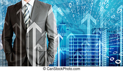 Businessmen with skyscrapers, graphs and arrows