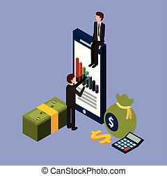 businessmen with smartphone graph financial money dollar calculator isometric