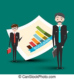 Businessmen with Success Graph - Vector