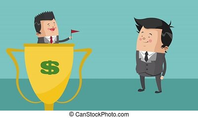 Businessmen working cartoon HD animation