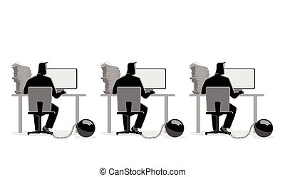 Businessmen working on computers chained into iron ball