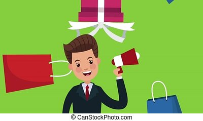 Businessmens promoting shopping HD animation - Businessmens...