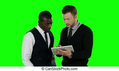 Businessmens win their bets. Green screen
