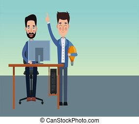 Businessmens with idea on computer HD animation