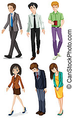 Illustration of the businessminded individuals on a white background