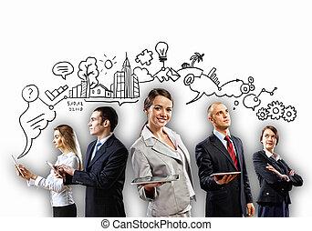 businesspeople, équipe, poser
