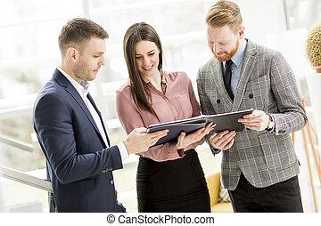 businesspeople, オフィス, グループ, 地位, 現代